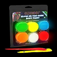 Glominex AR698, 6 Pcs 0.26oz Assorted Glow in the Dark Body Paint Clamshell Pack, Glow Makeup Paint Set, Glow Face Paint Kit, Glow Neon Acrylic Paint for Rave and Night Party, Festival, Parades