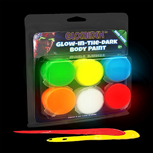 Clam Body - Glominex AR698, 6 Pcs 0.26oz Assorted Glow in the Dark Body Paint Clamshell Pack, Glow Makeup Paint Set, Glow Face Paint Kit, Glow Neon Acrylic Paint for Rave and Night Party, Festival, Parades