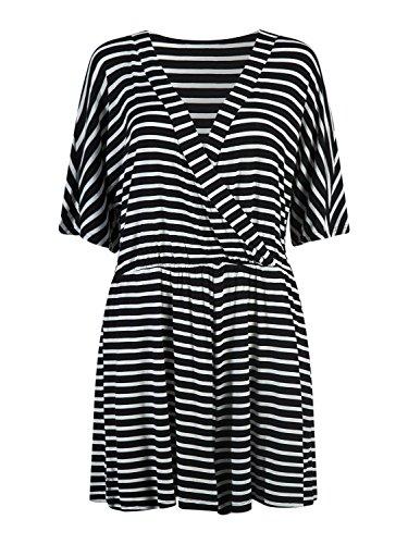 PERSUN Womens Stripes Sleeve Playsuit