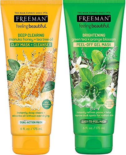Freeman Feeling Beautiful Deep Clearing & Brightening Facial Mask Variety Set, 6 oz (Pack of 2) (Freeman Facial Mask)