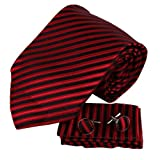 H6048 Red Stripes Wholesale For Marriage Silk Ties Cufflinks Hanky Groom Gifts Set 3PT By Y&G