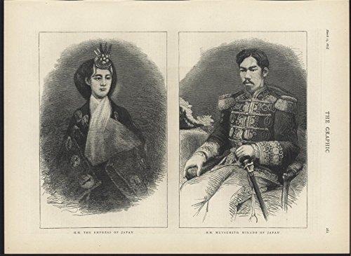 Empress of Japan Mutsuhito Mikado of Japan 1875 Graphic large antique image