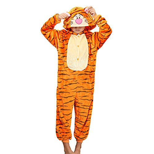 Tiger Dress For Kids (WSLCN Childrens Boys Girls Animal Onesie Unisex Cosplay Flannels Hooded Kids Sleepsuit Party Halloween Sleepwear Nightwear Tiger Striped Child Height 48-52 inch)