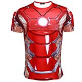 Cos-me The Avengers 2 Cosplay Iron Man Tony Stark T-shirt for Men Costume 2XL