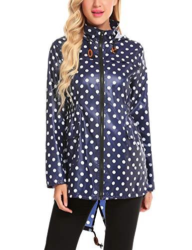 Polka Dot Raincoat - ZHENWEI Womens' Waterproof Lightweight Trench Raincoat,Hooded Outdoor Hiking Windbreaker Polka Dot Rain Jacket