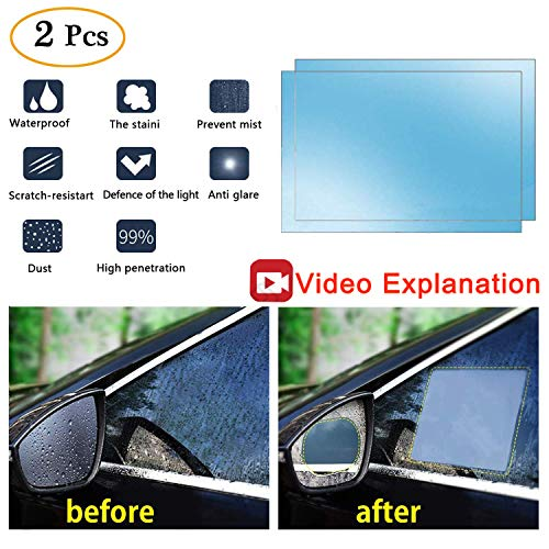 Anti Fog Film Car Rear View Mirror Waterproof Film protective film Anti Glare Rain-Proof Anti Water Mist, HD Nano Film Anti-glare,Anti-scratch,Rainproof (Side window anti-fog film)