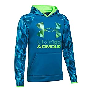 Under Armour Boys' Armour Fleece Printed Big Logo Hoodie, Cruise Blue/Quirky Lime, Youth Large