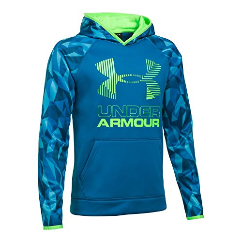 Blue Big Logo Hoodie - Under Armour Boys SG AF Big Logo Hoodie, Cruise Blue/Quirky Lime, Youth Medium
