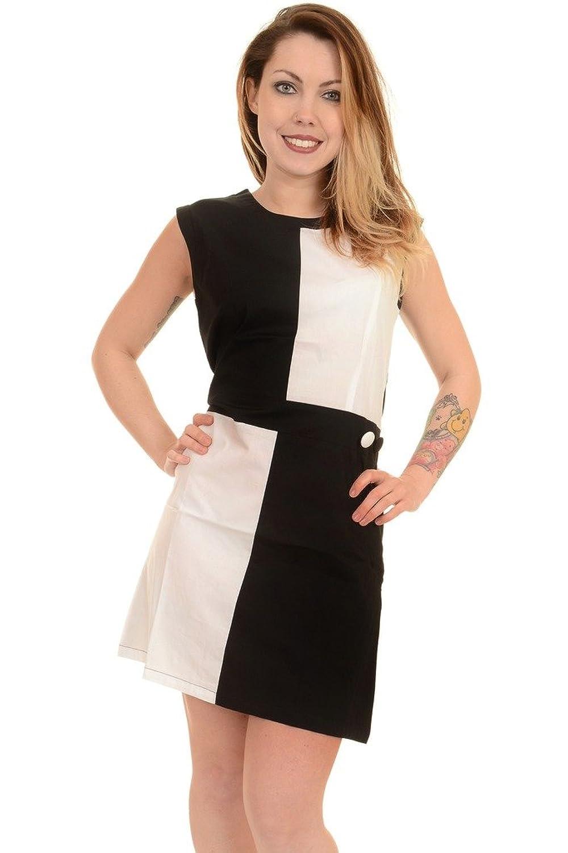 Ladies 60's Vintage Mod Black White Quadrant Scooter Dress