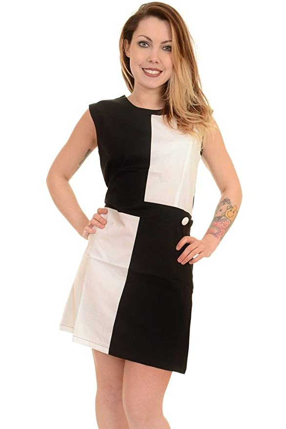 1960s Style Dresses- Retro Inspired Fashion Ladies 60s Vintage Mod Black White Quadrant Scooter Dress $36.95 AT vintagedancer.com