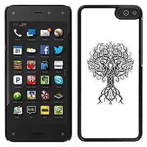 // PHONE CASE GIFT // Duro Estuche protector PC Cáscara Plástico Carcasa Funda Hard Protective Case for Amazon Fire Phone / white black minimalist deep tree branch /