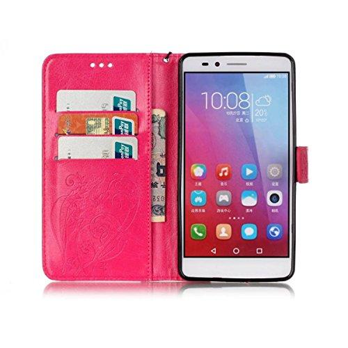 SRY-Conjuntos de teléfonos móviles de Huawei Caso HUAWEI Hornor 5X, caja de color sólido, caja de cuero de la PU de alta calidad Buttrfly patrón de grabación en relieve cubierta Kickstand de la caja p Rose