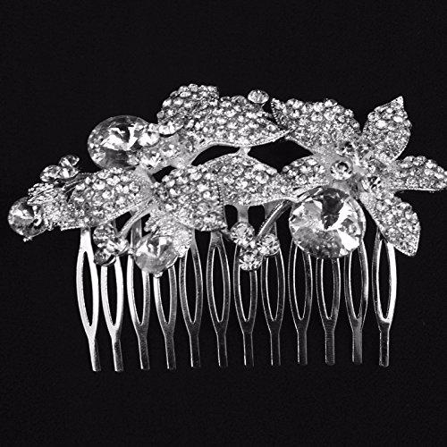 - Wedding Bridal Flower Hair Comb Tiara Clear Rhinestone Crystal Silver Tone 3.5' X1''