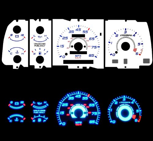 91-94 Mazda Navajo B-series Mazda Navajo/Mazda B2200 / B2300 / B3000 / B4000 Pick-Up with tach RPM Blue Indiglo Glow White Gauges by High performance parts (Image #1)