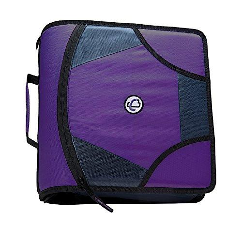 Case-it King Sized Zip Tab 4-Inch D-Ring Zipper Binder with 5-Tab File Folder, Purple, D-186-PUR-18