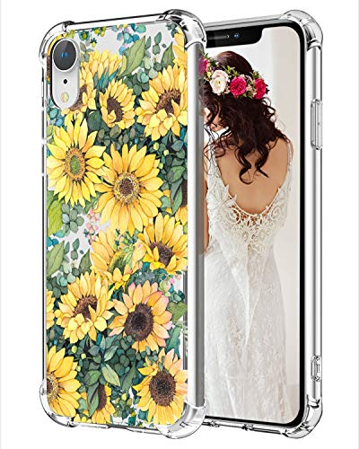 Sunflowers iPhone XR Case Floral Clear XR Phone Cases, Hepix Garden Flowers iPhone Case 10 Xr, Protective TPU Frame Anti-Scratch Shock Absorbing Case with Reinforced Bumper for iPhone XR (2018) 6.1