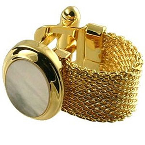 Cuff links Wrap Around Double Cufflinks~Strap~Watch Strap Gold-tone Mother Of Pearl Cufflinks + Hand Made Pouch