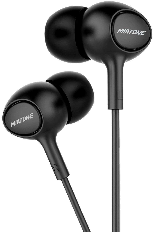 MIATONE Earbuds with Microphone, in-Ear Ear Bud Headphones Dynamic Crystal Clear Sound, Ergonomic Comfort-Fit Earphones - Black