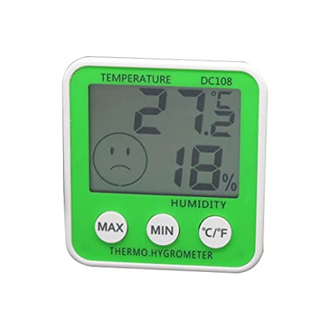 LIOOBO Termómetro Digital de Temperatura Medidor de Humedad Reloj barómetro Higrómetro Termómetro (Verde sin batería