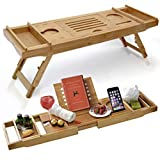 Bathtub Caddy & Laptop Bed Desk –Patent Pending 2 In 1 Innovative Design Transforms Our 100% Extra Large Bamboo Bathtub Tray To Bed Tray (10' wide) – For The Ultimate Pampering Experience