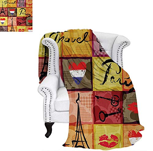 - Custom Design Cozy Flannel Blanket Collage Print Colorful Hearts Eiffel Tower French Flag and Paris Lettering Artful Weave Pattern Blanket 62