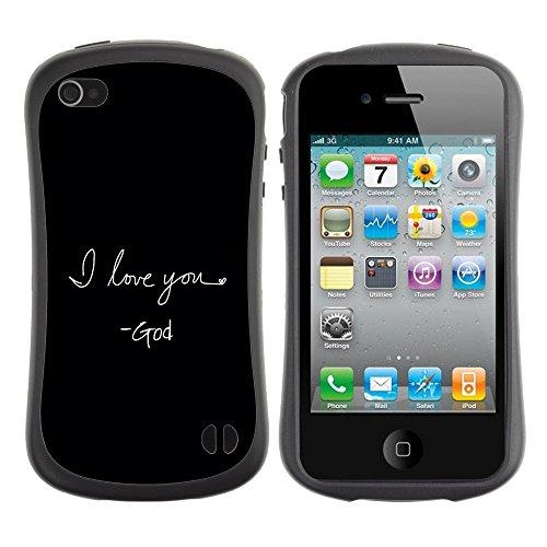 DREAMCASE Citation de Bible Silicone et Rigide Coque Protection Image Etui solide Housse T¨¦l¨¦phone Case Pour APPLE IPHONE 4 / 4S - I LOVE YOU - GOD