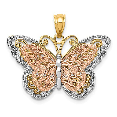 14k Two Tone Gold and White Rhodium Stacked Butterfly Pendant, 26mm