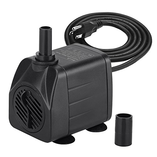 KEDSUM 100GPH Submersible Pump(450L/H, 8W), Ultra Quiet Water Pump with 4ft High Lift, Fountain Pump with 4.9 ft Grounded Power Cord, 2 Nozzles for Fish Tank, Pond, Aquarium, Statuary, Hydroponics