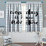 Anhounine Inspirational Quotes,Blackout Curtain,Every Day is a New Adventure Calligraphy Text Watercolor Stripes Print,Decorative Curtains for Living Room,Pale Blue,W120 x L96 inch