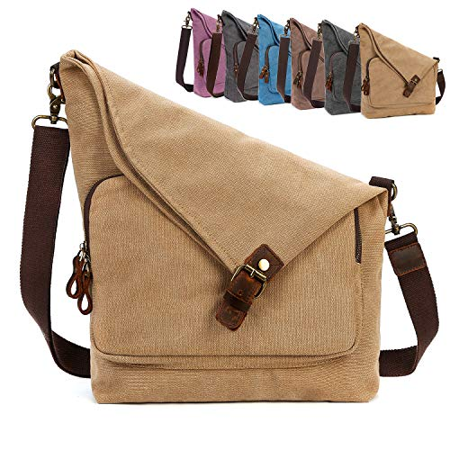 AmHoo Canvas Crossbody Bag for Women Genuine Leather Messenger Purse Handbags Shoulder Bag Hobo Totes Unisex,Khaki
