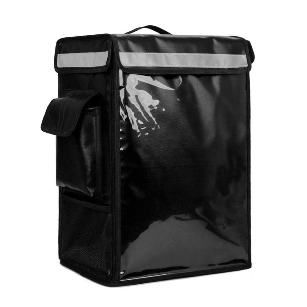 Insulated Food Delivery Backpack, Portable Insulated Cooler Bag with Removable Divider, Pizza Delivery Thermal Backpack, Water Resistant Commercial Food Delivery Bag Durable for Uber Eats Food Service Outdoor Camping 34cm x 25cm x 47cm (Black)