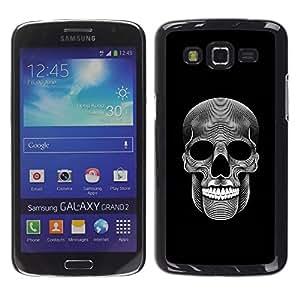 MobileHut / Samsung Galaxy Grand 2 SM-G7102 SM-G7105 / Music Skull Death Metal Dark Art Black / Delgado Negro Plástico caso cubierta Shell Armor Funda Case Cover