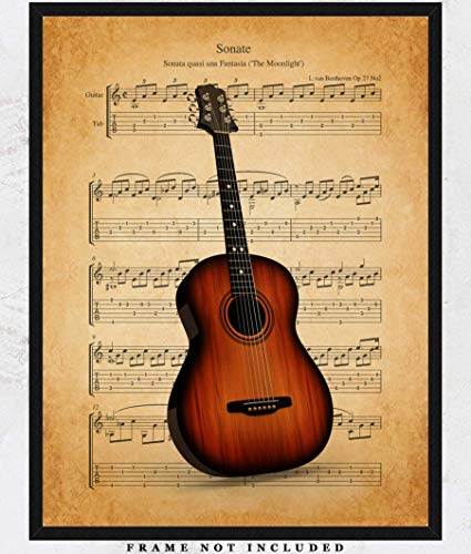 Vintage Guitar Sheet Music Wall Art Print: Unique Room Decor for Boys, Men, Girls & Women - (11x14) Unframed Picture - Great Gift Idea for Violin Players & Music Lovers! (Pictures Vintage Music)