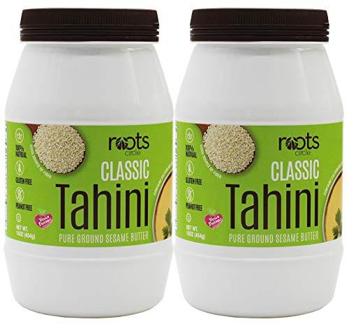 All Natural Sesame Tahini Paste | 16oz 100% Natural Pure Ground Sesame Seed Paste for Hummus, Tahini Sauce & Dressing | Certified Vegan, Kosher | Gluten Free, Peanut Free & -