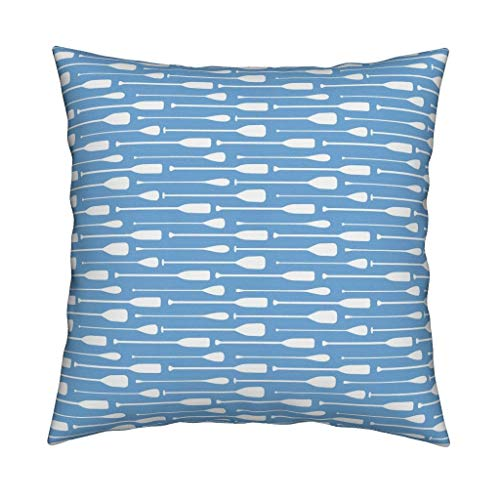 Roostery Canoe Paddle Organic Sateen Throw Pillow Cover Blue Paddles Rive Lake Boys Blue Outdoors Summer Paddles Adventure Little Arrow Baby Boy by Littlearrowdesign Cover w Optional Insert ()