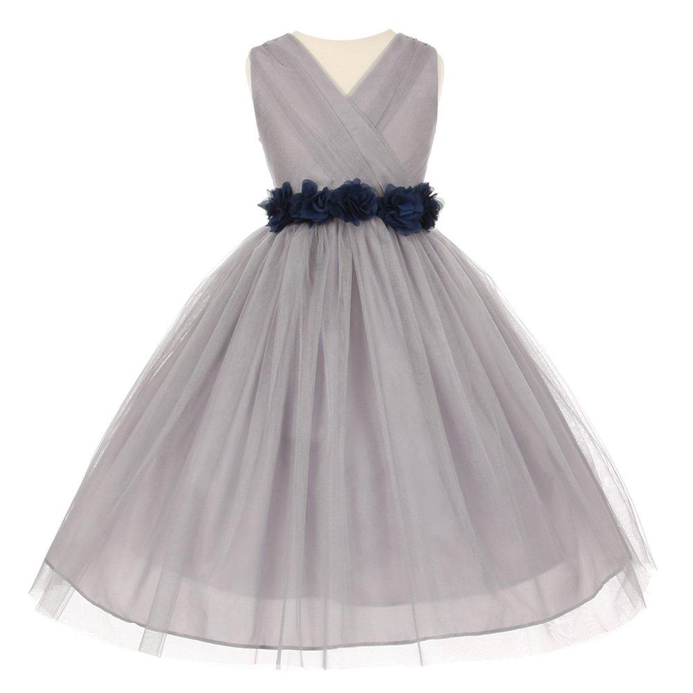 39c8f68fe5e Amazon.com  Little Girls Silver Navy Chiffon Floral Sash Tulle Flower Girl  Dress  Clothing