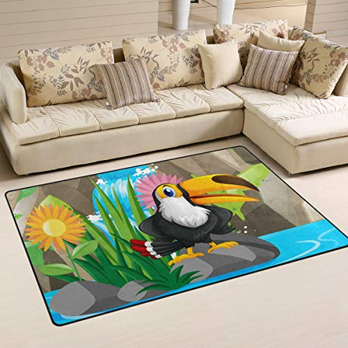 Toucan Bird by The Waterfall Area Rugs 5' x 3' Door Mats Indoor Polyester Non Slip Multi Rectangle Carpet Kitchen Floor Runner Decoration for Home Bedroom Living Dining Room