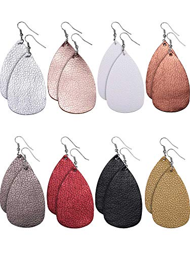 Tatuo 8 Pairs Teardrop Leather Earrings Petal Drop Earrings Antique Lightweight Leather Earrings for Women Girls (Solid Colors)