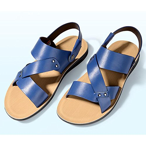 Antideslizante Al Hombres Abierta Sandalias Cómodos Aire De Verano Blue Playa Zapatos Cuero Deportes Punta Ajustables Libre Snfgoij Para HaAxqwwI