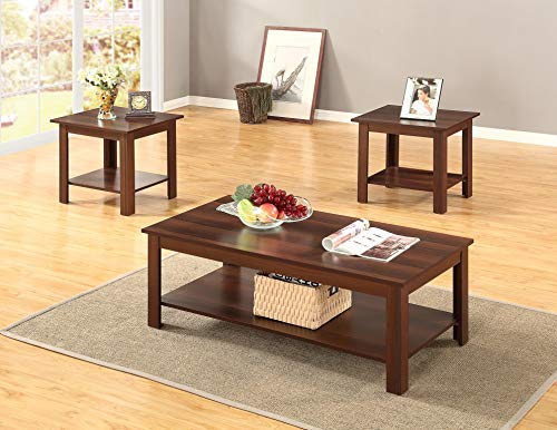 (GTU Furniture Occassional Modern, Contemporary, Transitional, Traditional, 3-Piece Square Accent Table Set with 1 Coffee Table, and 2 End Tables in a Rich Dark Oak Brown Wood Finish, with Storage Shel)