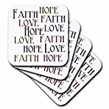 3dRose Faith Hope Love - Soft Coasters, Set of 8 (cst_186717_2)