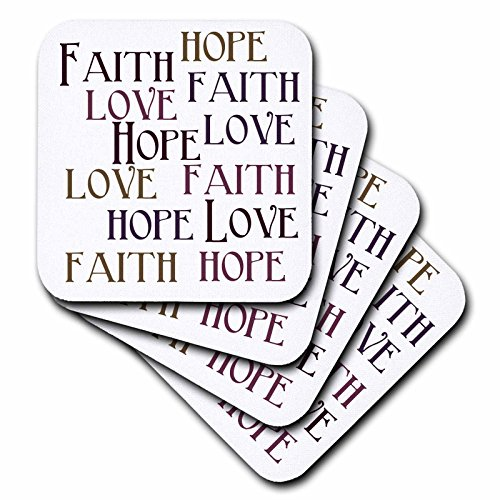 3dRose Faith Hope Love - Soft Coasters, Set of 8 (cst_186717_2) by 3dRose