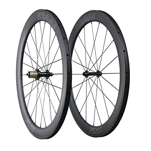 ICAN Aero Carbon Road Bike Wheelset 55mm Deep 25mm Wide Clin