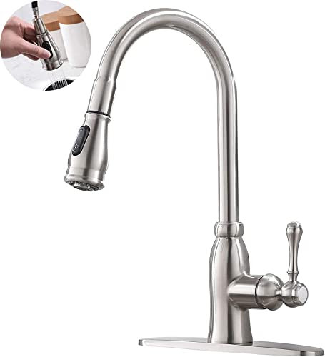 Commercial Single Handle High Arc Pull Out Brushed Nickel Bar Sink Kitchen Faucet, Single Level Stainless Steel Kitchen Sink Faucets with Deck Plate YHT053L