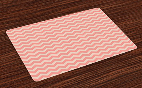 Ambesonne Peach Place Mats Set of 4, Zigzag Chevron Pattern Geometric Soft Colored Old School Vintage Abstract Artwork, Washable Fabric Placemats for Dining Room Kitchen Table Decor, Coral Peach