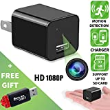 Hidden camera - Spy camera - Motion Detection - HD 1080P - Usb Hidden camera - Surveillance camera - Mini spy camera - Nanny camera - Best Spy camera charger - Hidden camera charger - IMPROVED 2018