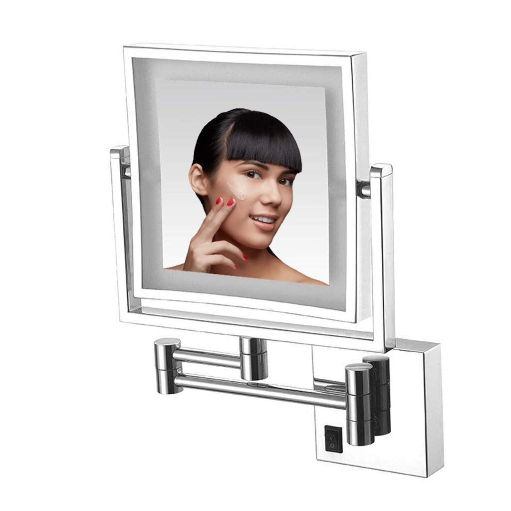 Makeup Mirror 8 Inch Wall Mount Make Up Mirror, LED Luminated Bathroom Shaving Mirror Wall Mounted Round Vanity Mirror, 360° Swivel 3X Magnification Two-Sided Square Optional Plug,Chrome,BSplug by Makeup Mirror