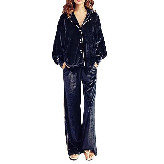 Higuo Pijamas Pantalón Ancho Pantalones de Manga Larga Mujer ...