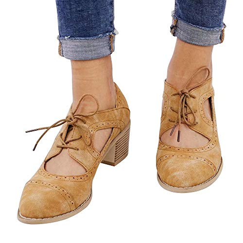 (Wonvatu Ankle Boots for Women Chunky Heel Oxfords Cut Out Pump Shoes Lace Up Heel Sandals Brown)