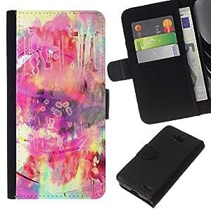 KLONGSHOP // Tirón de la caja Cartera de cuero con ranuras para tarjetas - Hippie colorido Rosa Amarillo - LG OPTIMUS L90 //